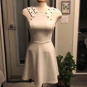 White flare mini dress